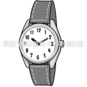 腕時計のイラスト(白黒版)