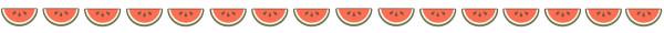 スイカの飾り罫線(カラー版)