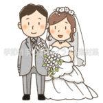 結婚式「新郎新婦」の(ウェディングドレスとタキシード)イラスト(カラー版)
