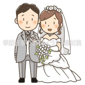 結婚式(ウェディングドレスとタキシード)のイラスト